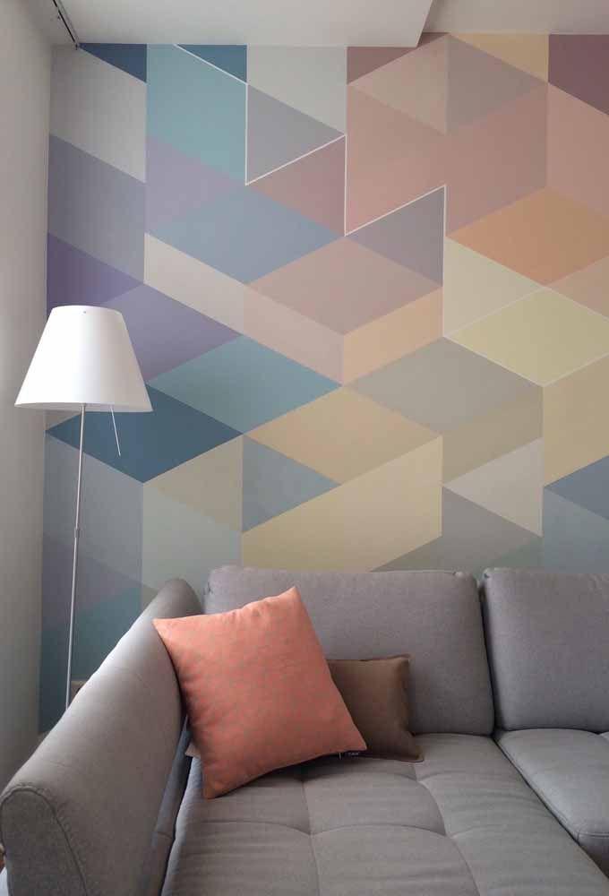 Uma parede geométrica com cores variadas, mas todas seguindo uma paleta suave e harmônica