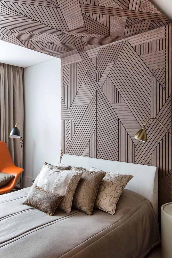 E se ao invés de tinta você usar madeira para formar a parede geométrica? Gostou da ideia?