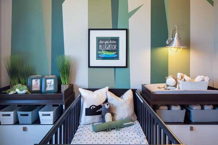 Os tons de verde desse outro quartinho mostram que quarto de menino não precisa ser sempre azul