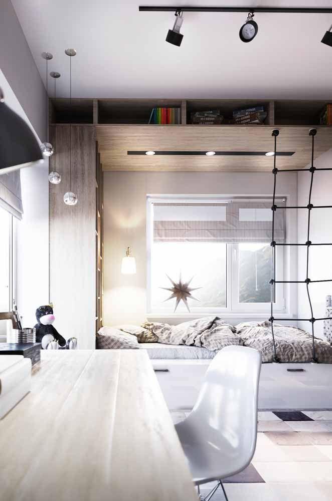 É cama, é nicho, é gavetão, é escada de corda...tudo isso em um único móvel