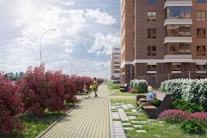 Para a área comum do prédio, um jardim florido e de fácil manutenção