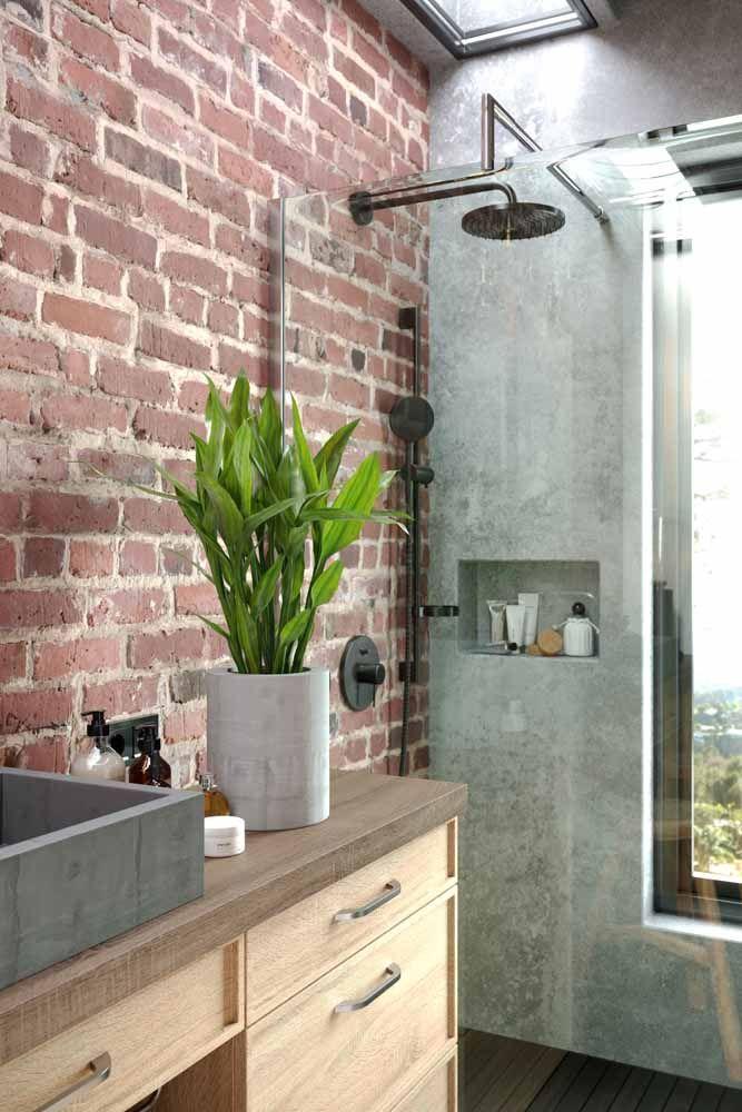 A aspidistra se encaixou como uma luva nesse banheiro de estilo rústico e industrial