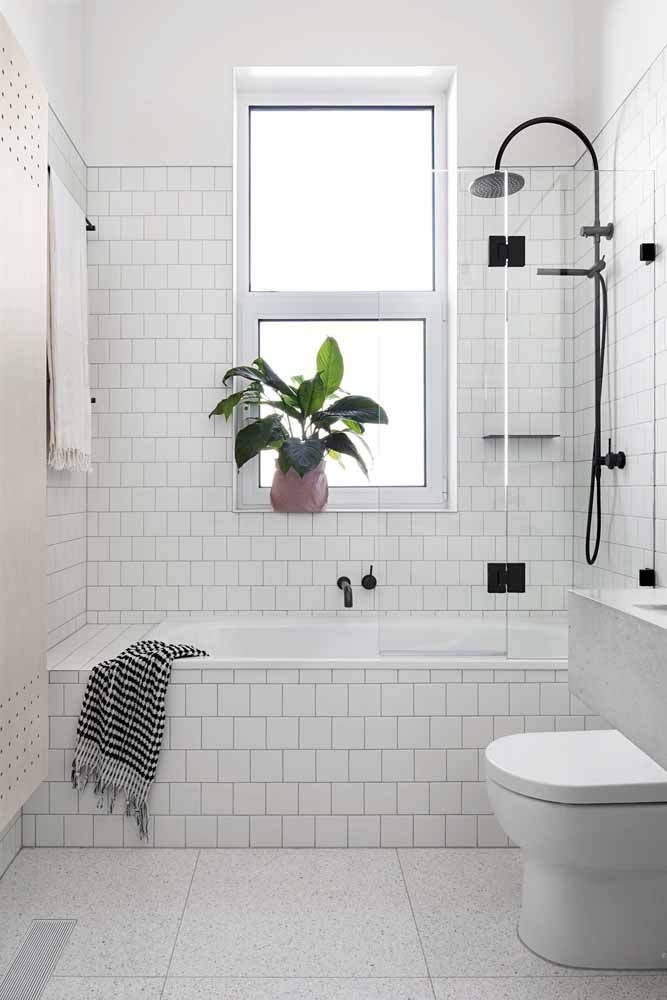 Já no banheiro branco e clean, a aspidistra se destaca pelo verde intenso de suas folhas