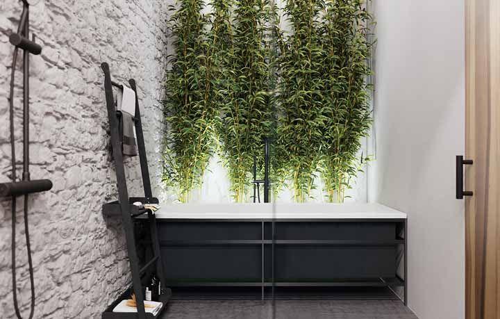 Uma cortina de bambu para a área do banho; um visual incrível, não é mesmo?