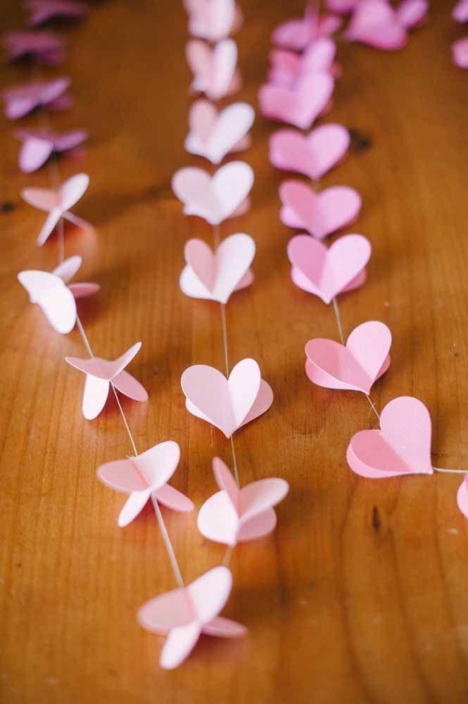 Cortina de coração 3D na cor rosa: romântica e delicada