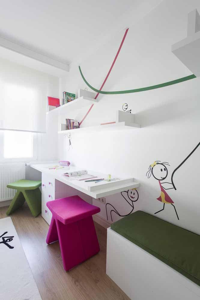 Um toque de diversão e descontração para a parede branca do quarto infantil