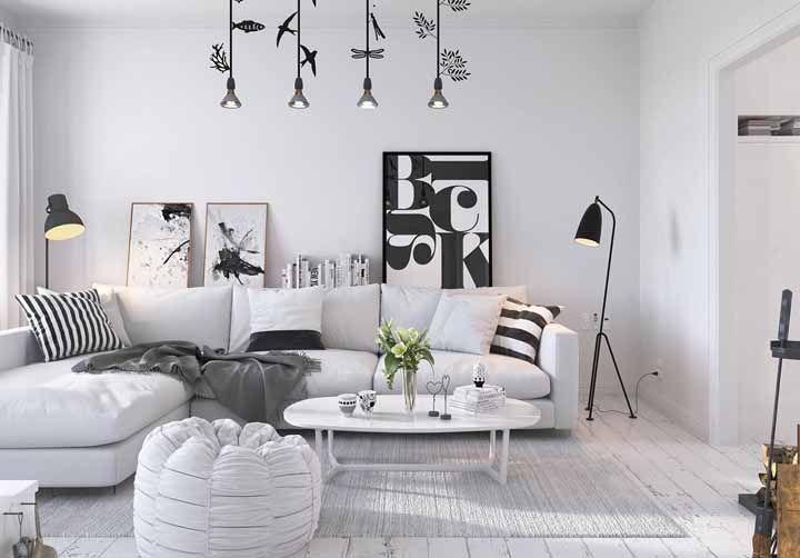 Para as decorações escandinavas, o branco na parede não é um problema, ele é parte fundamental do estilo