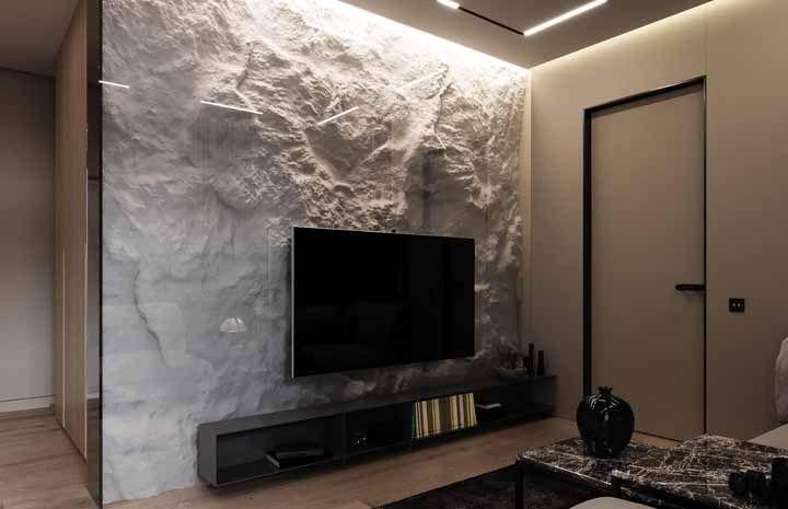 Parede de pedra: um belo visual para a sala