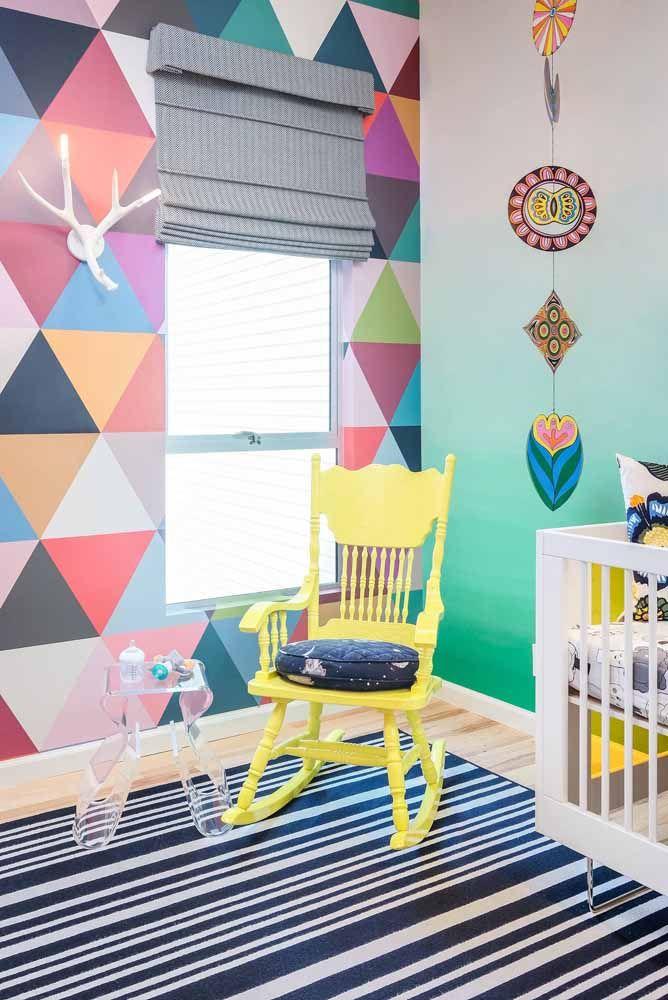 Nesse quarto infantil, as cores estão por todos os lados