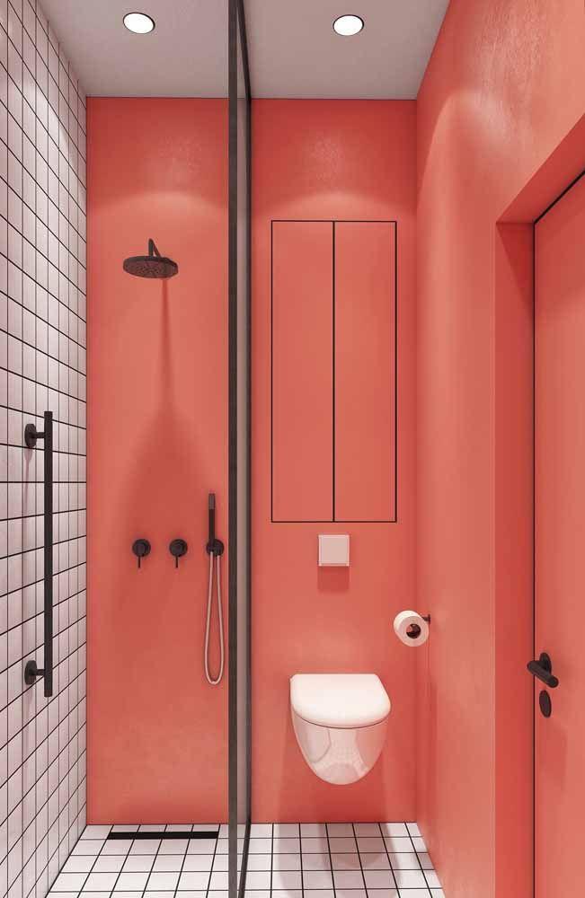 Cansou do banheiro branco? Vá de cor de rosa então para animar