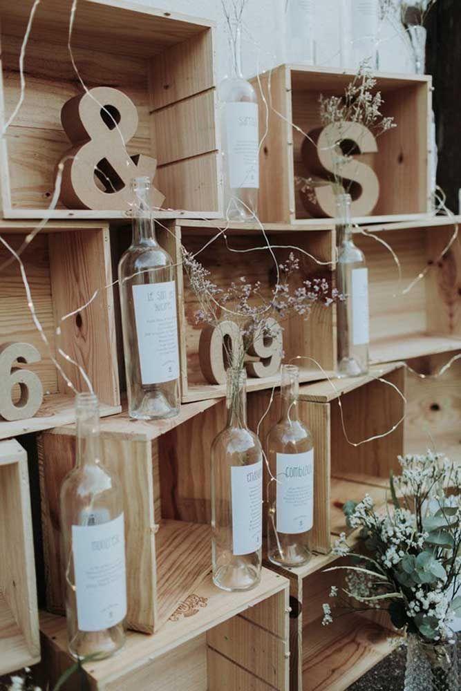 Caixotes de feira também são uma boa ideia para a decor de bodas