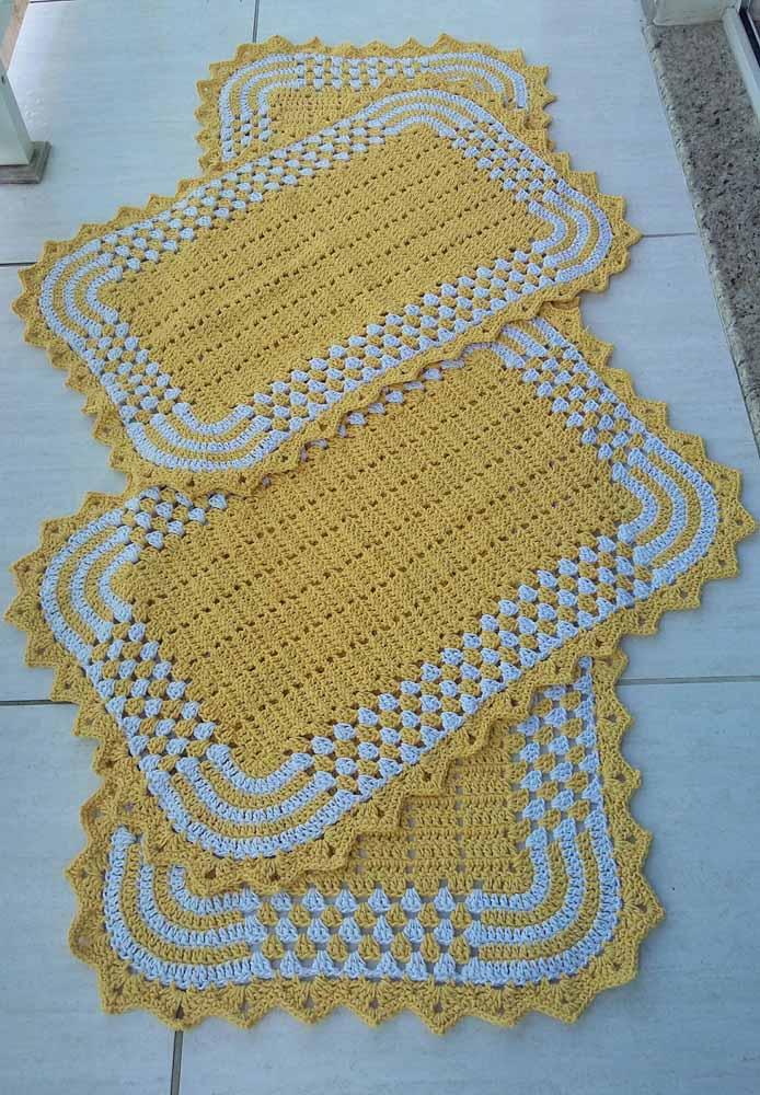 Kit clássico de três peças de tapete de crochê para cozinha