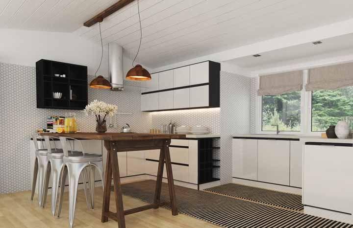 Um modelo listradinho para deixar a cozinha moderna