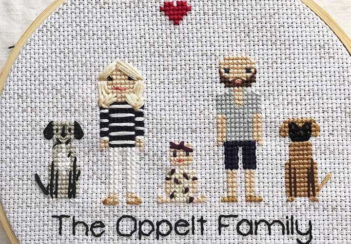 Cabe toda a família no ponto cruz