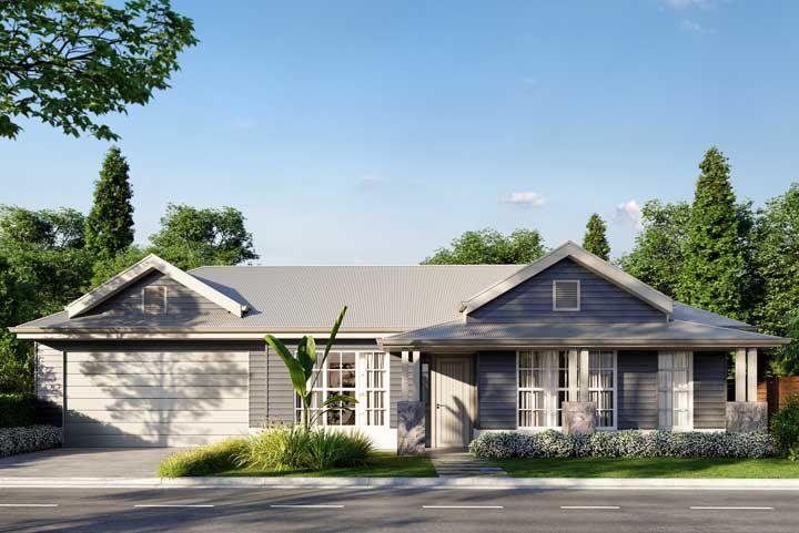 Fachada de casa simples que valoriza o telhado como elemento principal