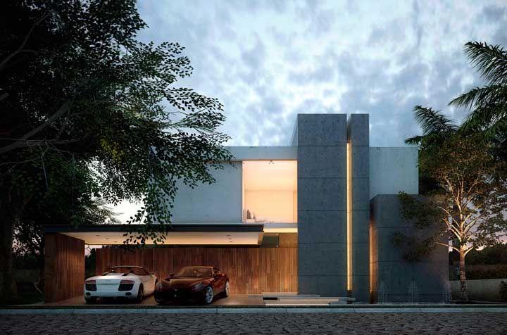 Um pouco de concreto aparente para revelar a proposta contemporânea da fachada
