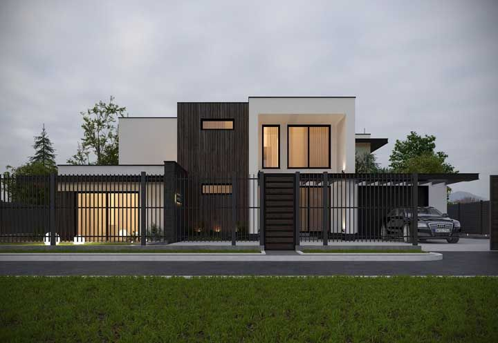 Tudo à vista: o portão e a cerca vazada permitem que a casa apareça para a vizinhança