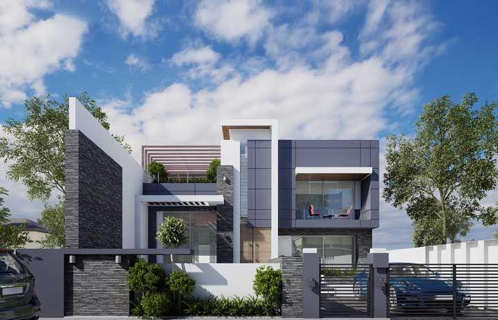 O cinza é a cor escolhida para compor os elementos principais da fachada e do muro