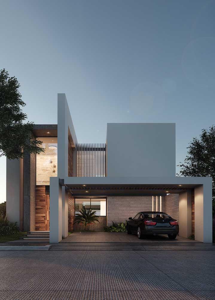 Aqui, a proposta foi explorar volumes e formas para criar uma fachada moderna e autêntica