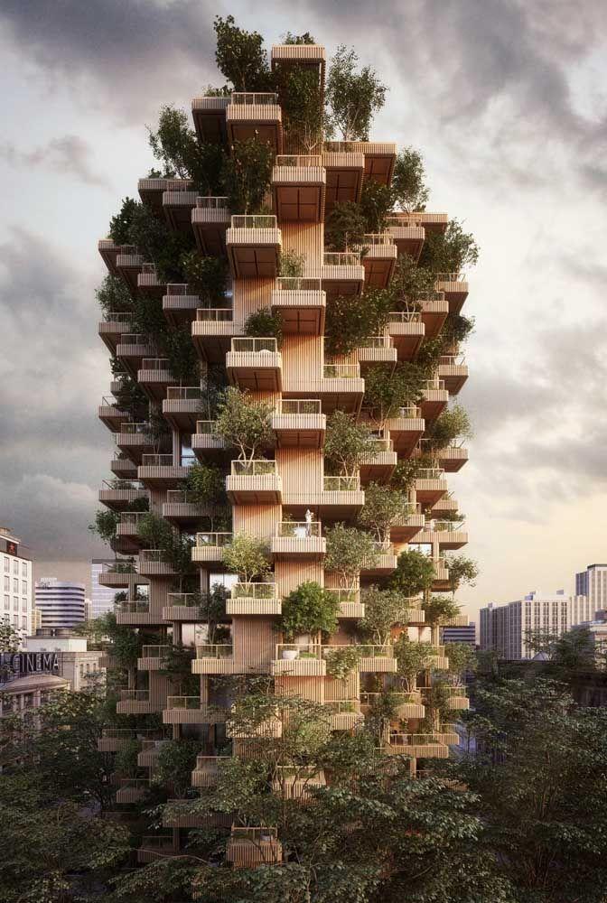 Fachada de prédio do futuro: cheia de verde para aliviar o ar carregado das metrópoles