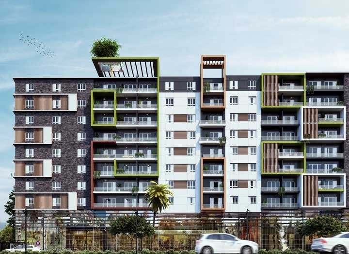 Um pouco de cor e vibração para realçar a arquitetura do prédio