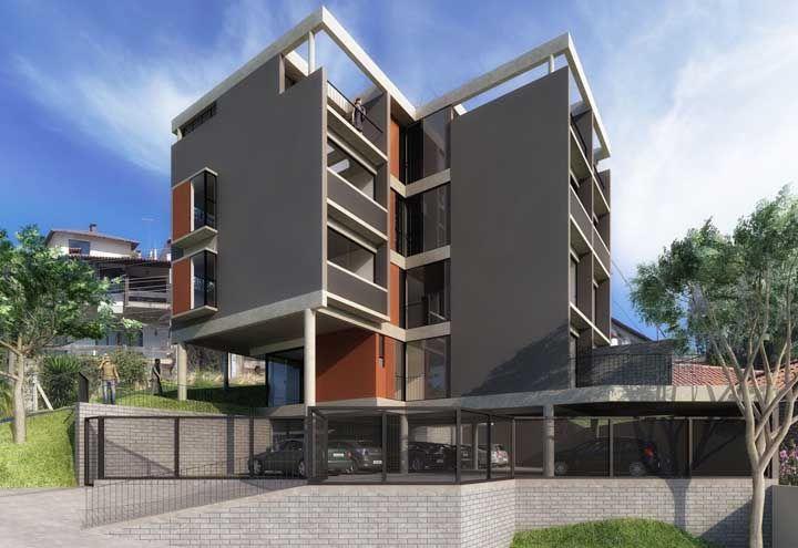 O vão na estrutura do telhado permite que a luz do sol invada a varanda dos apartamentos