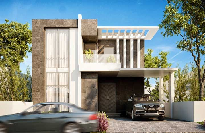 Moderna, essa fachada explora grandes janelas para aumentar a luminosidade no interior da casa