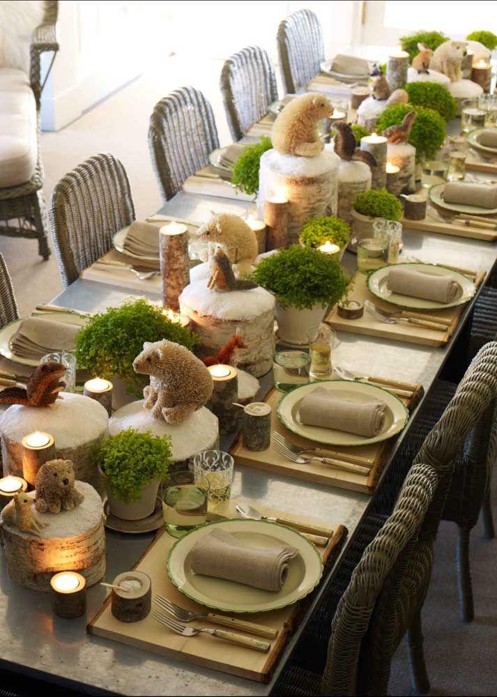 Que fofo! Ursos brancos tomaram conta do centro dessa mesa