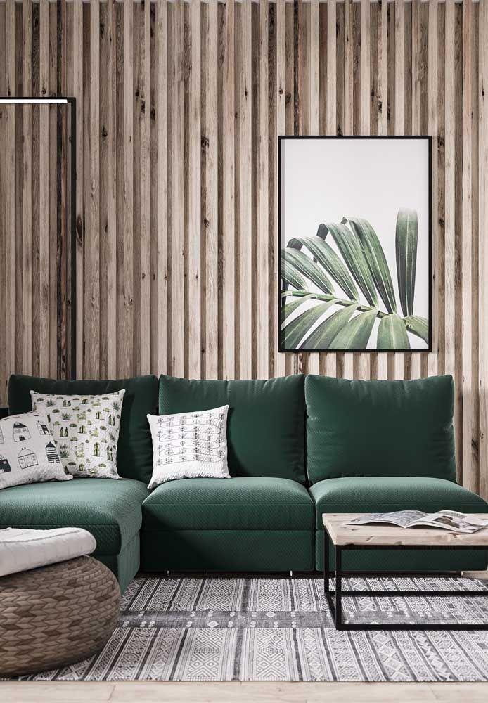 A combinação entre madeira e verde é sempre aconchegante e acolhedora