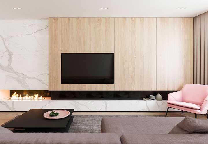Mármore e madeira clara: pode ser mais elegante?