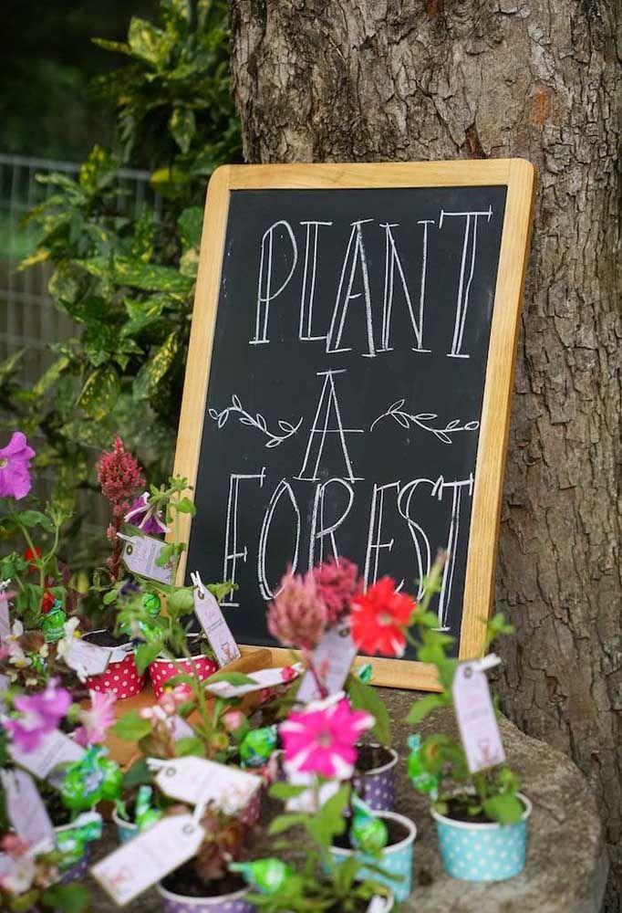 Plante uma floresta: a sugestão de lembrancinha aqui são mudas de plantas e árvores, não poderia ser mais apropriado ao tema, não é mesmo?