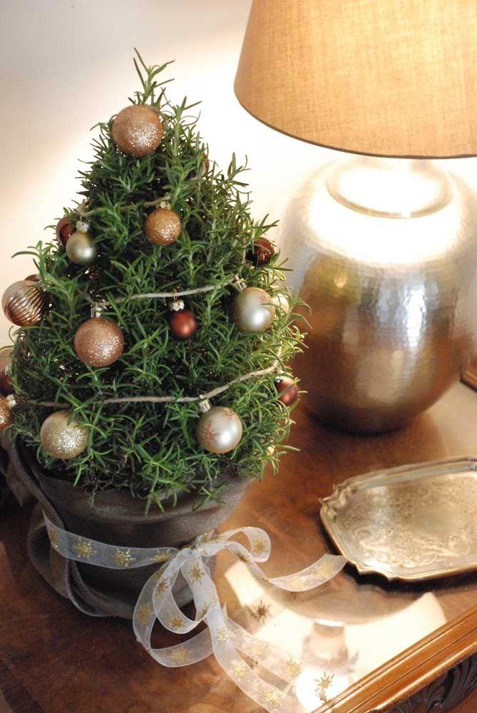 Um pequenino e delicado pinheiro para a mesinha lateral