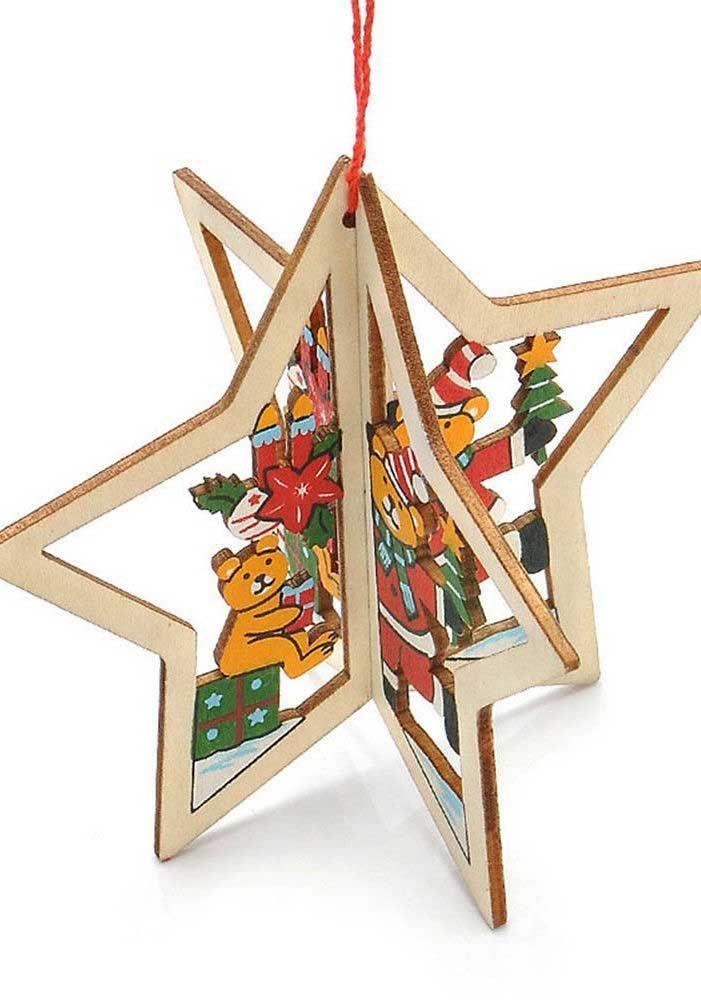 Estrela de natal tridimensional decorada com ursinhos fofos
