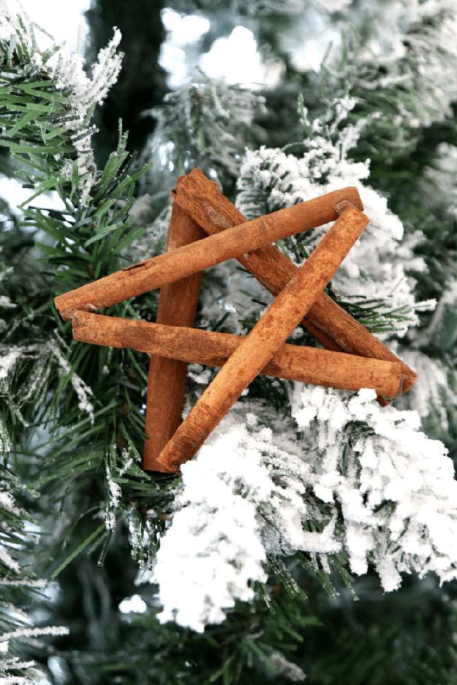 Uma estrela rústica e aromática feita com paus de canela