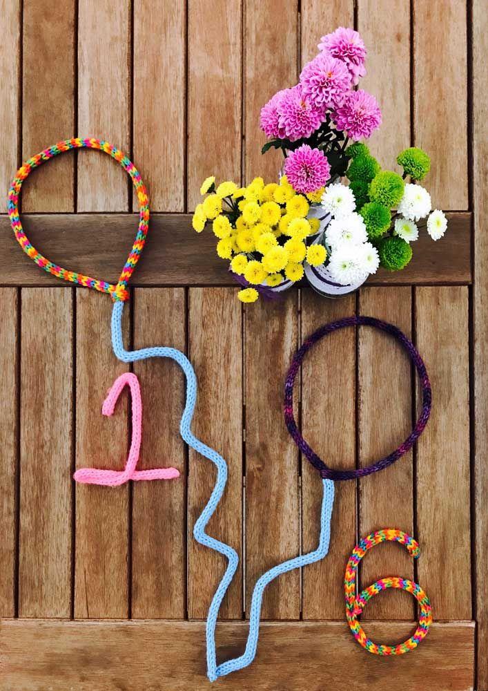 Balões de tricotin para a festinha de aniversário