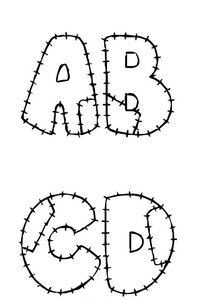 Molde de letras para patchwork com marcação da costura e emendas – ABCD
