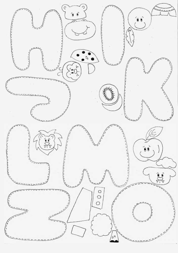 Moldes de letras para feltro - HIJKLMNO