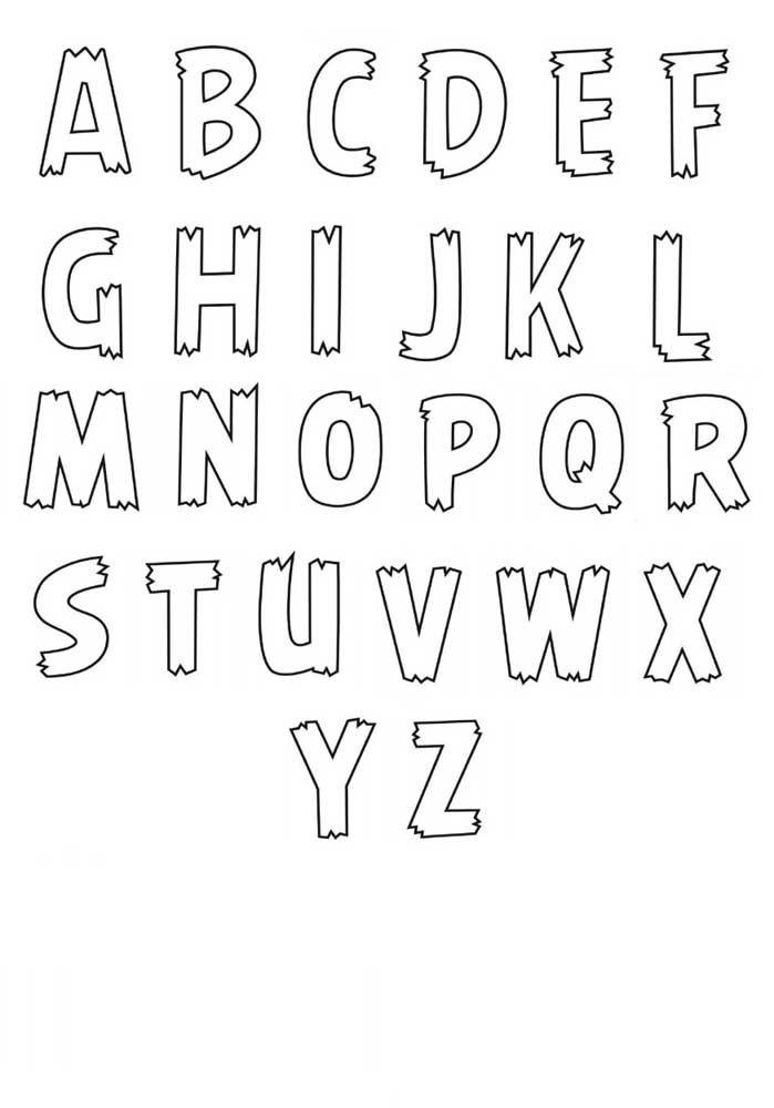 Moldes de letras finas – abecedário completo