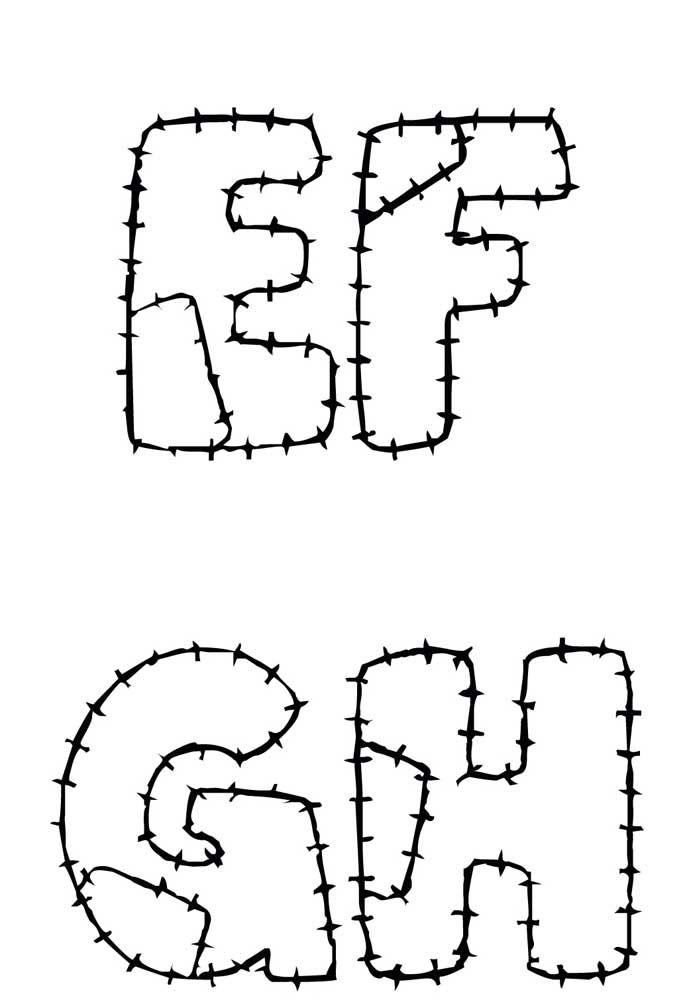 Molde de letras para patchwork com marcação da costura e emendas – EFGH