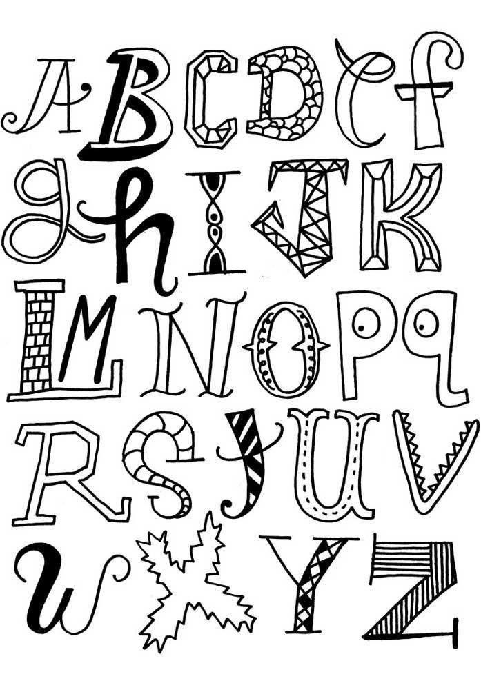 Moldes de letras divertidas – abecedário completo