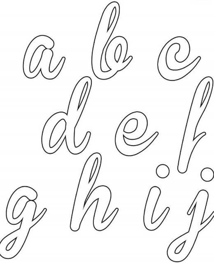 Molde de letras cursiva – ABCDEFGHIJ