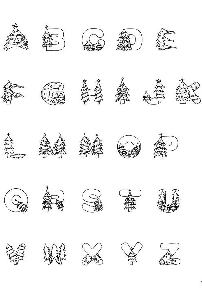 Molde de letras com o tema Natal (árvore de natal)