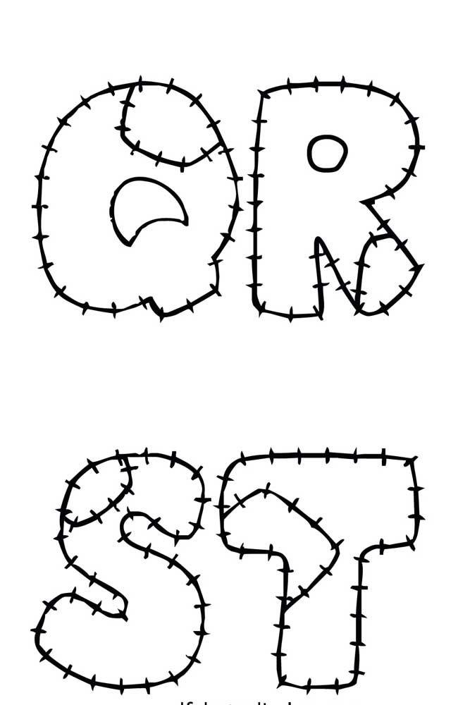 Molde de letras para patchwork com marcação da costura e emendas – QRST