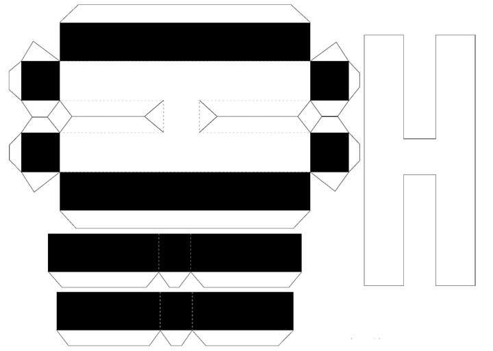Molde de letras 3D – letra H