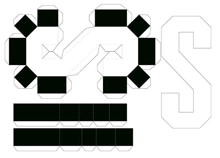 Molde de letras 3D – letra S
