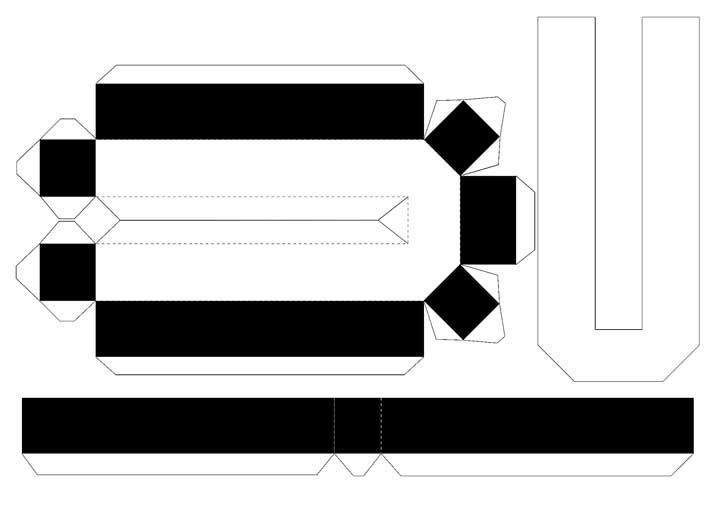 Molde de letras 3D – letra U