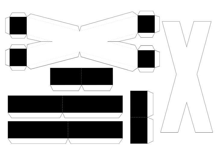 Molde de letras 3D – letra X
