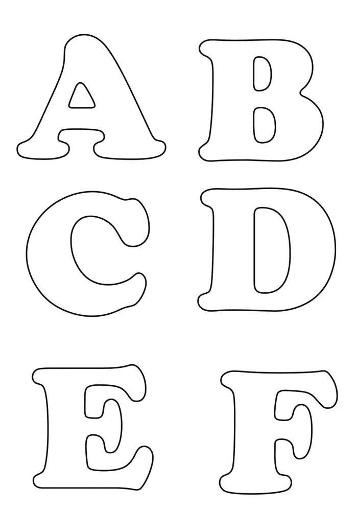 Moldes de letras grandes - ABCDEF