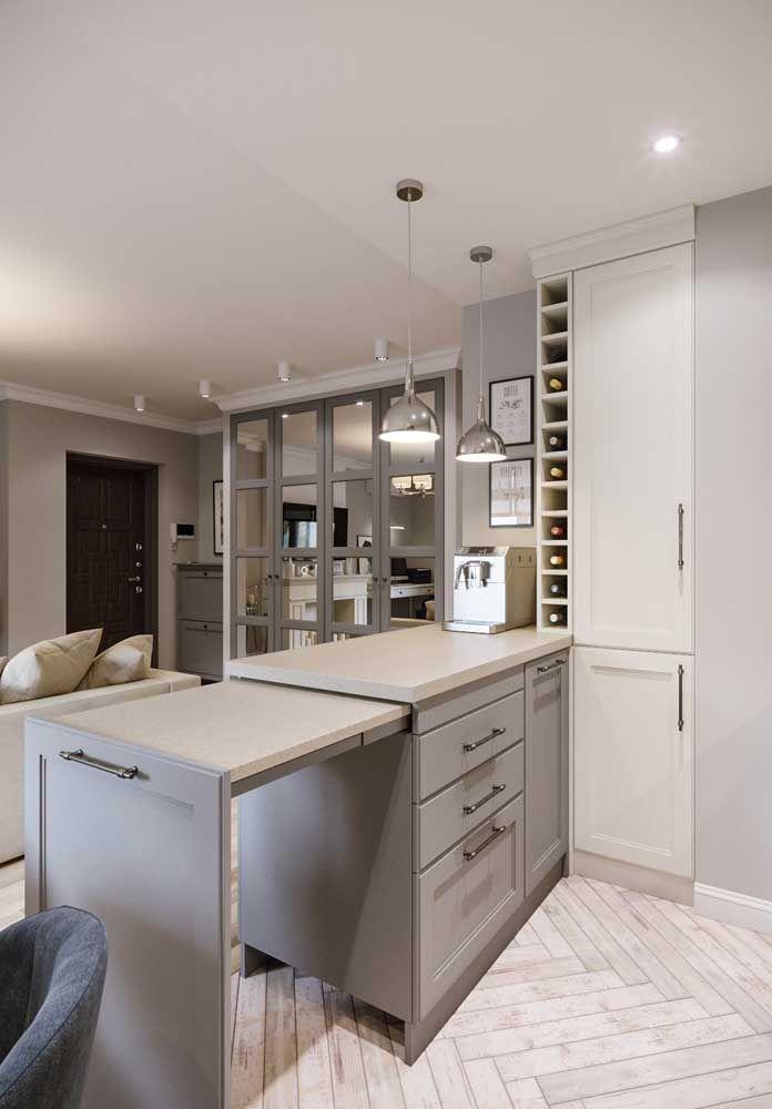 Tem que ser criativa e funcional: balcão retrátil para a cozinha