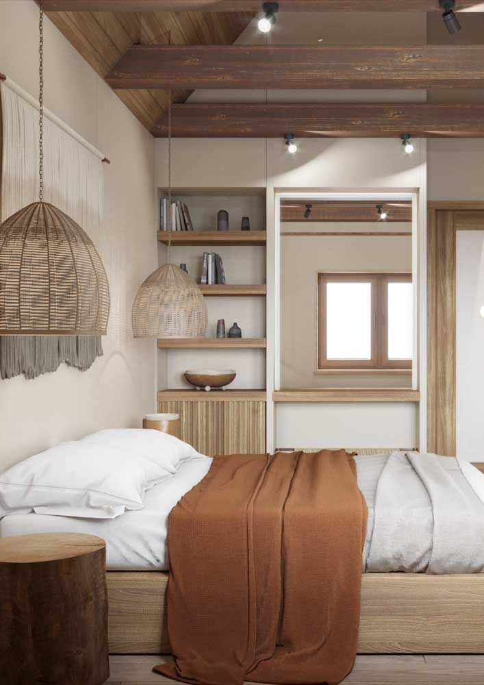 Decoração de quarto de casal levemente rústico e sem ser clichê